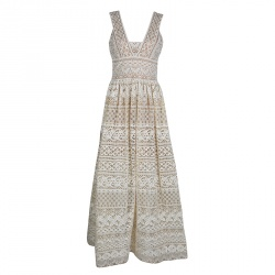 44b6eea70c8 Elie Saab Ivory and Beige Embroidered Guipure Lace Plunge Neck Sleeveless  Gown S