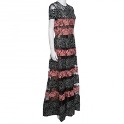 21cbe120f98 Elie Saab Black and Salmon Pink Paneled Floral Embroidered Tulle Gown S