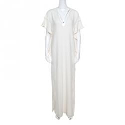d3f3f5a260ef5 فستان إيلي صعب دانتيل أبيض أوف وايت مكشكش بأكمام مشقوقة S