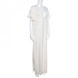 5bafdbb0095 Elie Saab Off White Ladder Lace Ruffled Sleeve Slit Detail Dress S