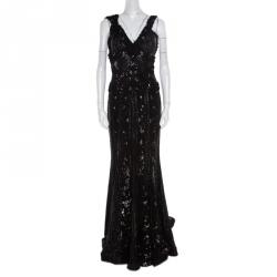 1023173090b Elie Saab Black Embellished Silk Petal Applique Detail Sleeveless Gown L