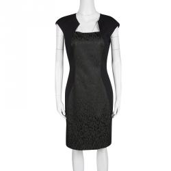 b887b9eb2893 Elie Tahari Black Contrast Animal Jacquard Panel Cap Sleeve Dress S