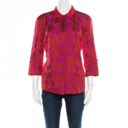 2010810d3486 Elie Tahari Red and Purple Floral Jacquard Jersey Shirt M