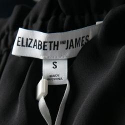 Elizabeth & James Black Silk Ruffled Trim Off Shoulder Cropped Denny Top S