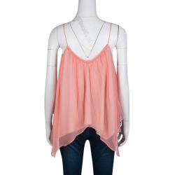 Elizabeth & James Pink Silk Asymmetric Layered Sleeveless Top L