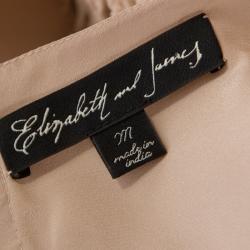Elizabeth & James Beige Silk Floral Applique Milena Rosette Top M