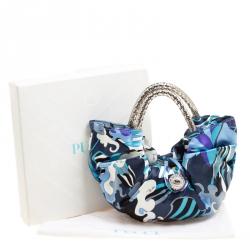 حقيبة إيميليو بوتشي مسائية ساتان طباعة تجريدية زرقاء