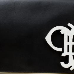 Emilio Pucci Black Leather Oversize Logo Clutch