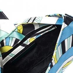 Emilio Pucci Multicolor Printed Satin Magnet Closure Pochette Bag