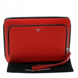 Emporio Armani Coral Orange Leather Zip Around Ipad Case