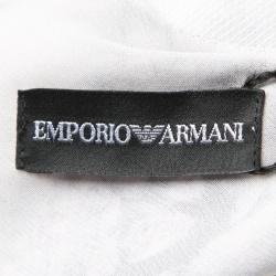 Emporio Armani Grey Rose Print Bow Detail Sleeveless Silk Top S