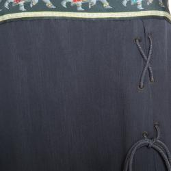 Emporio Armani Olive Green Silk Elephant Motif Detail Sleeveless Maxi Dress M