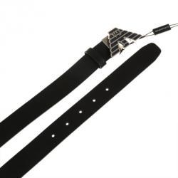 Emporio Armani Black Leather One Size Belt