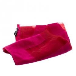 Emporio Armani Pink Logo Burnout Detail Scarf