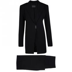 Emporio Armani Black Long Blazer and High Waist Pant Suit L