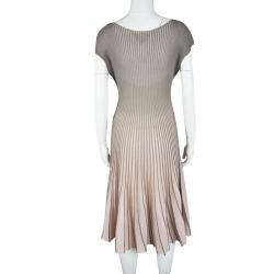 Emporio Armani Grey and Pink Striped Pleated Boat Neck Dress M