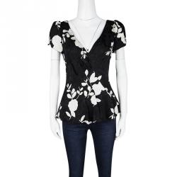 Emporio Armani Monochrome Floral Print Back Tie Detail Blouse M