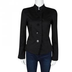 Emporio Armani Black Cotton Mandarin Collar Blazer M