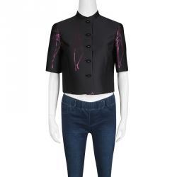 Emporio Armani Black Metallic Croquis Pattern Jacquard Cropped Jacket S
