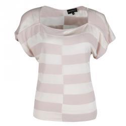 Emporio Armani Blush Pink and Cream Broken Block Striped Knit Top S