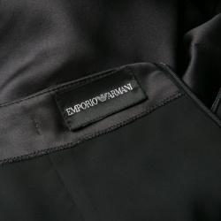 Emporio Armani Black Satin Twist Hem Detail Pencil Skirt S