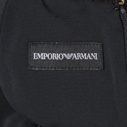 Emporio Armani Black Ribbed Knit Cap Sleeve Dress M