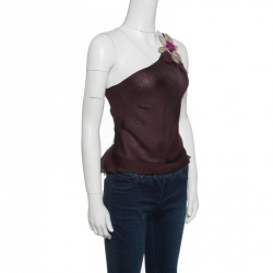 Emporio Armani Burgundy Floral Applique Tie Detail One Shoulder Top S