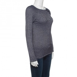Emporio Armani Navy Blue and White Striped Knit Sweater S