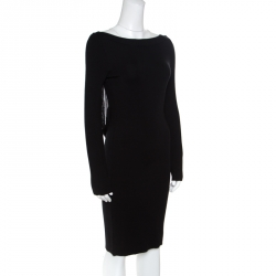 Emporio Armani Black Knit Fringed Cut Out Back Detail Bodycon Dress M