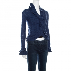 Emporio Armani Blue Patterned Knit Ruffled Long Sleeve Shrug S