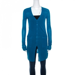 Emporio Armani Teal Blue Knit Long Cardigan S