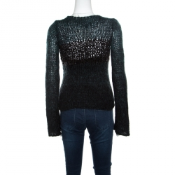 Emporio Armani Green Mohair and Wool Blend Braided Bodice Detail Sweater S