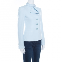Emporio Armani Powder Blue Layered Lapel Blazer S