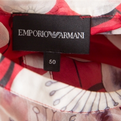 Emporio Armani Red and White Floral Printed Silk Neck Tie Detail Blouse XL
