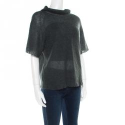 Emporio Armani Grey Loose Knit Short Sleeve High Neck Sweater M
