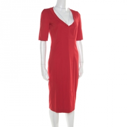 Emporio Armani Red Textured Short Sleeve Pencil Dress M