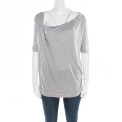 Emporio Armani Grey Modal and Silk Jersey Asymmetric Draped Front Top L