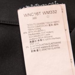 Emporia Armani Black Silk Peter Pan Collar Short Sleeve Shirt S
