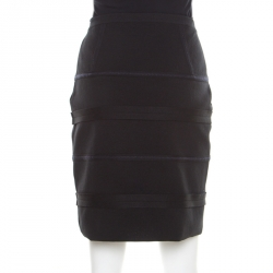 Emporio Armani Black Knit Contrast Top Stitch Detail Mini Skirt M