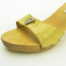 Emporio Armani Cream Croc Embossed Wooden Clogs Size 38