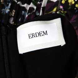 Erdem Black Floral Print Pleated Belted Long Sleeve Rhona Dress S