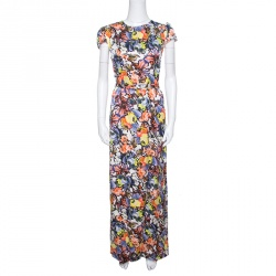 Erdem Floral Printed Silk  Belted Cap Sleeve Aurelia Maxi Dress S