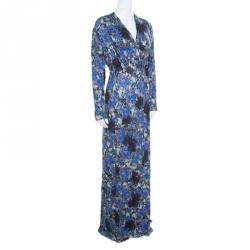 Erdem Blue and Grey Pelham Crescent Printed Jersey Draped Front Maxi Dress XL