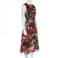 Erdem Multicolor Leaf Print Silk Mackenzie Tamae Sleeveless Dress M