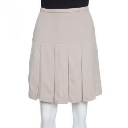017226d6ddf Ermanno Scervino Beige Wool Pleated Mini Skirt M