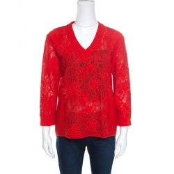 0e0f78ffc9f Ermanno Scervino Red Lace Paneled V Neck Sweater M