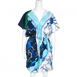 Escada Multicolor Printed Silk Draped Placket Drop Waist Tunic L