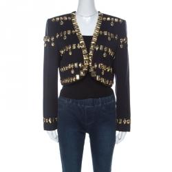 Escada Black Wool Gold Bead Embellished Vintage Jacket L