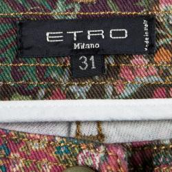 Etro Multicolor Floral and Paisley Print Slim Fit Denim Jeans L