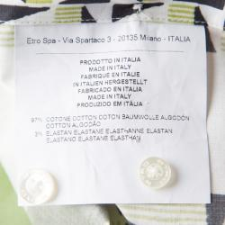 Etro Colorblock Printed Cotton Long Sleeve Button Front Shirt L